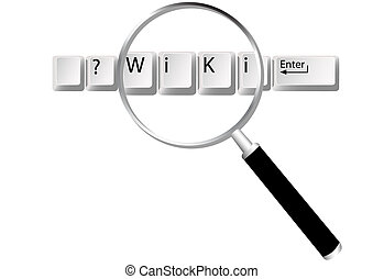 Wiki keys magnifying glass to find information