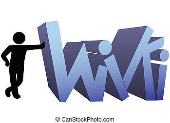 wiki, símbolo informação, pessoas, ícone