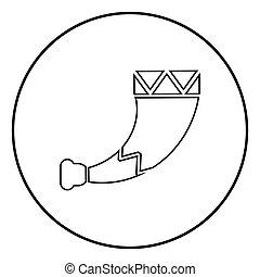 wiking, płaski, styl, szkic, farbować wizerunek, ilustracja, róg, wektor, czarne koło, okrągły, ikona