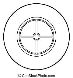 wiking, płaski, styl, szkic, farbować wizerunek, tarcza, ilustracja, wektor, czarne koło, okrągły, ikona