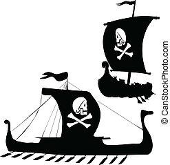 wiking, sylwetka, statek, dwa