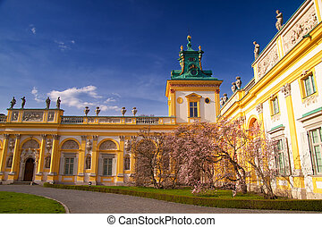 wilanow, 宫殿, 在中, 华沙, 在上, a, 阳光充足天