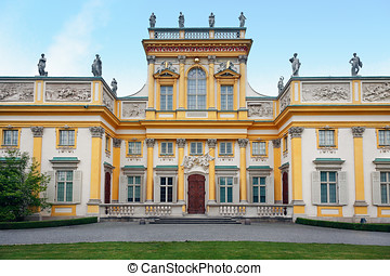 Wilanow Palace in Warsaw - Front view (west-side) of the...