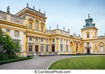 Wilanow Palace in Warsaw - Front (west-side) of the Royal...