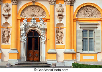 Wilanow palace - Wilanow king palace entrance in Warsaw. ...