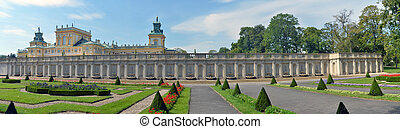 Wilanow panoramic view - Royal palace in Wilanow. North ...