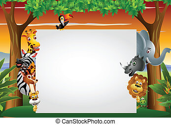 wild african animal with blank sign - vector illustration of...