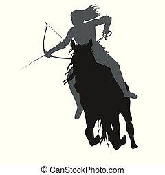 Wild amazon girl with a bow on horseback