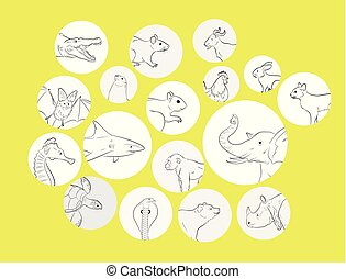 Wild and Farm Animals Profile Pictures Vector Illustration