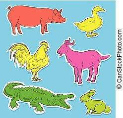 Wild and Farm Animals Stickers Vector