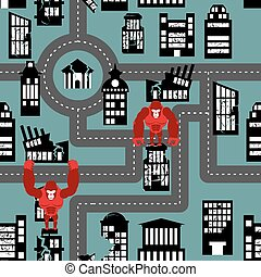 Wild angry Gorilla destroyed city seamless pattern. Big Monkey broke down building. Devastation in city. Destruction of public and residential buildings.