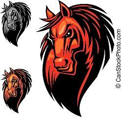 Wild angry horse head mascot