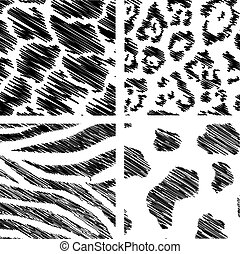 wild animal abstract backgrounds set over white background