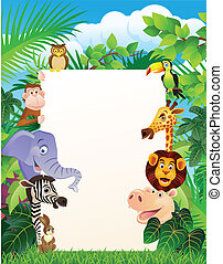 Wild animal and blank sign