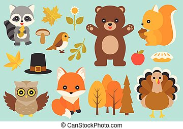 wild animal and elements such as bear, turkey, bird, fox, owl, raccoon, mushroom, maple leaves, branch with leaves, pilgrim hat for thanksgiving day and autumn season in flat design