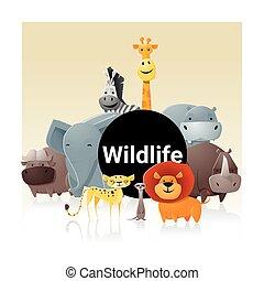 Wild animal background ,vector, illustration