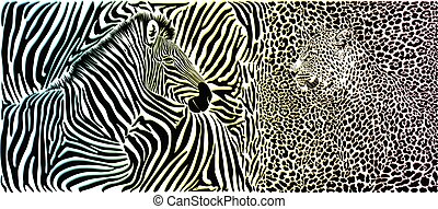 Wild animal background - template with zebra and leopard motif