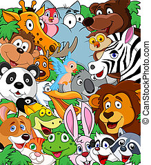 Wild animal background - Vector illustration of wild animal ...