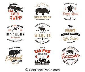 Wild animal Badges set and great outdoors activity insignias. Retro illustration of animal badges. Typographic camping style. Vector wild Animal logos with letterpress effect. Explorer quotes. Part 2