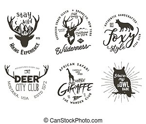 Wild animal badges set. Included giraffe, owl, fox and deer shapes. Stock vector isolated on white background