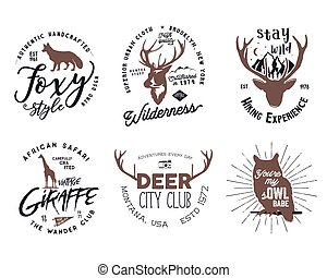 Wild animal badges set. Included giraffe, owl, fox and deer shapes. Stock vector isolated on white background. Good for tee designs, mugs, logotype.