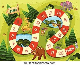 Wild animal board game illustration