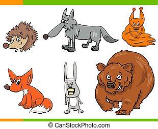 wild animal cartoon characters set