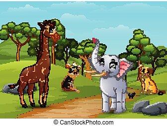 Wild animal cartoon playing in the jungle