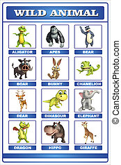 wild animal chart - 3d rendered illustration of wild animal...