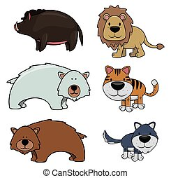 Wild animal : Wild boar,Lion,Bear,Polar bear,Tiger and Wolf