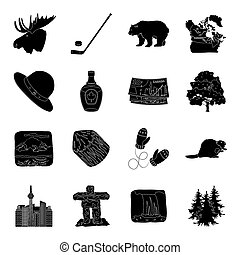 Wild animal, deer, horns and other Canada elements. Canada set collection icons in black style bitmap, raster symbol stock illustration web.