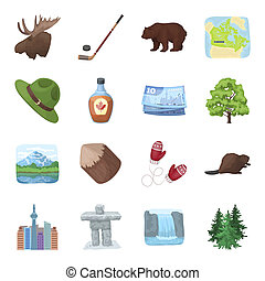 Wild animal, deer, horns and other Canada elements. Canada set collection icons in cartoon style bitmap, raster symbol stock illustration web.