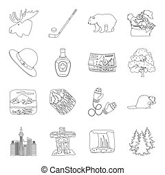 Wild animal, deer, horns and other Canada elements. Canada set collection icons in line style vector symbol stock illustration web.