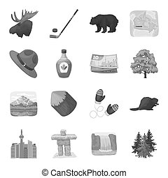 Wild animal, deer, horns and other Canada elements. Canada set collection icons in monochrome style bitmap, raster symbol stock illustration web.