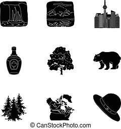 Wild animal, deer, horns and other Canada elements. Canada set collection icons in black style vector symbol stock illustration web.