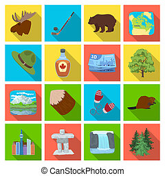 Wild animal, deer, horns and other Canada elements. Canada set collection icons in flat style bitmap, raster symbol stock illustration web.
