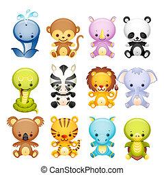 Wild animal icon set