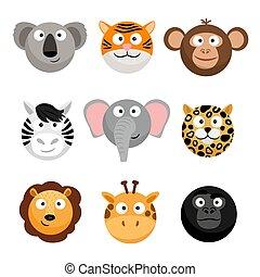 Wild animal emoticons. Vector cartoon funny smileys faces, cartoon animal emojis