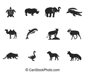 Wild animal figures and shapes collection isolated on white background. Black silhouettes turtle, rhino, dolphin, swan, tiger, camel, raccoon, fox, dog and othersl. Animals shapes bundle. Vector.