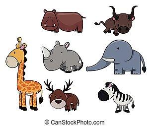 Wild animal : Giraffe, hippo, bull, rhinocerros, zebra, deer and elephant
