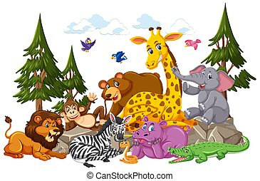Wild animal group cartoon character on white background