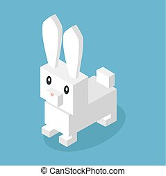 Wild Animal Hare, Rabbit Isometric 3d Design