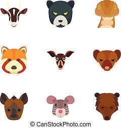 Wild animal head icon set, flat style