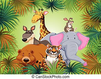 Wild animal in grean jungle background