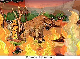 Wild animal in wildfire forest illustration