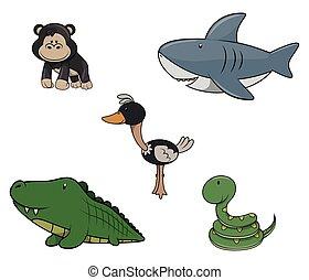 Wild animal : Monkey,Shark,Ostrich,Crocodille and snake