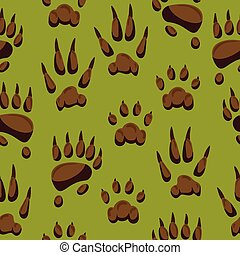 Wild animal paw hand steps vector animalistic pets claw or of cat or dog and pawed bear or monkey foot illustration pawky mammals set seamless pattern background
