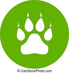Wild animal paw vector button