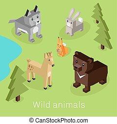 Wild Animal Set Isometric 3d Design