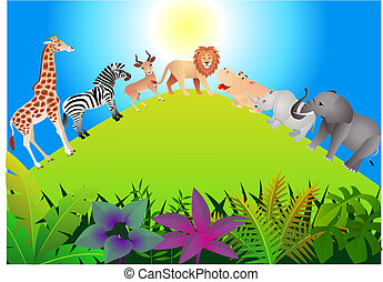 Wild animal - Vector illustration of funny wild animal